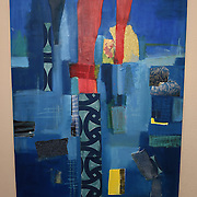 The City, 2015<br /> oil, paper &amp; fabric<br /> 48&quot;x36&quot;<br /> $350.00<br /> by Dona Leon