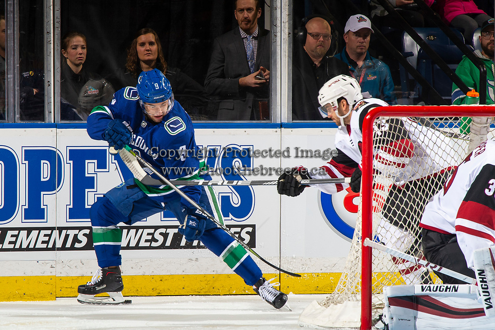 KELOWNA, BC - SEPTEMBER 29: Vinnie Hinostroza #13 of the Arizona Coyotes stick checks Brendan Leipsic #9 of the Vancouver Canucks behind the net at Prospera Place on September 29, 2018 in Kelowna, Canada. (Photo by Marissa Baecker/NHLI via Getty Images)  *** Local Caption *** Vinnie Hinostroza;Brendan Leipsic