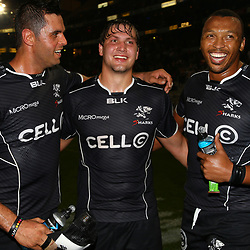 DURBAN, SOUTH AFRICA - JUNE 13:  Marco Wentzel (captain) with Etienne Oosthuizen and Lubabalo Mtyanda of the Cell C Sharks during the Super Rugby match between Cell C Sharks and DHL Stormers at Growthpoint Kings Park on June 13, 2015 in Durban, South Africa. (Photo by Steve Haag/Gallo Images)