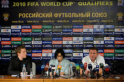 PR of Slovenia Matjaz Krajnik, translator  and Head coach of Slovenia Matjaz Kek at press conference a day before FIFA World Cup 2010 Qualifying match between Russia and Slovenia, on November 13, 2009, in Stadium Luzhniki, Moscow, Russia.  (Photo by Vid Ponikvar / Sportida)