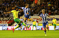 Cameron Jerome of Norwich City challenges Stephen Warnock of Wigan Athletic - Mandatory by-line: Matt McNulty/JMP - 07/02/2017 - FOOTBALL - DW Stadium - Wigan, England - Wigan Athletic v Norwich City - Sky Bet Championship