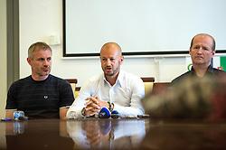 Ivo Jan, Dejan Kontrec and Nik Zupancic at press conference of HZS and Nik Zupancic as a new head coach of Slovenian national hockey team, on June 15th, in Hala Tivoli , Ljubljana, Slovenia. Photo by Matic Klansek Velej / Sportida