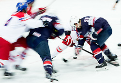 Players in action during Ice Hockey match between USA and Czech Republic at Third place game of 2015 IIHF World Championship, on May 17, 2015 in O2 Arena, Prague, Czech Republic. Photo by Vid Ponikvar / Sportida