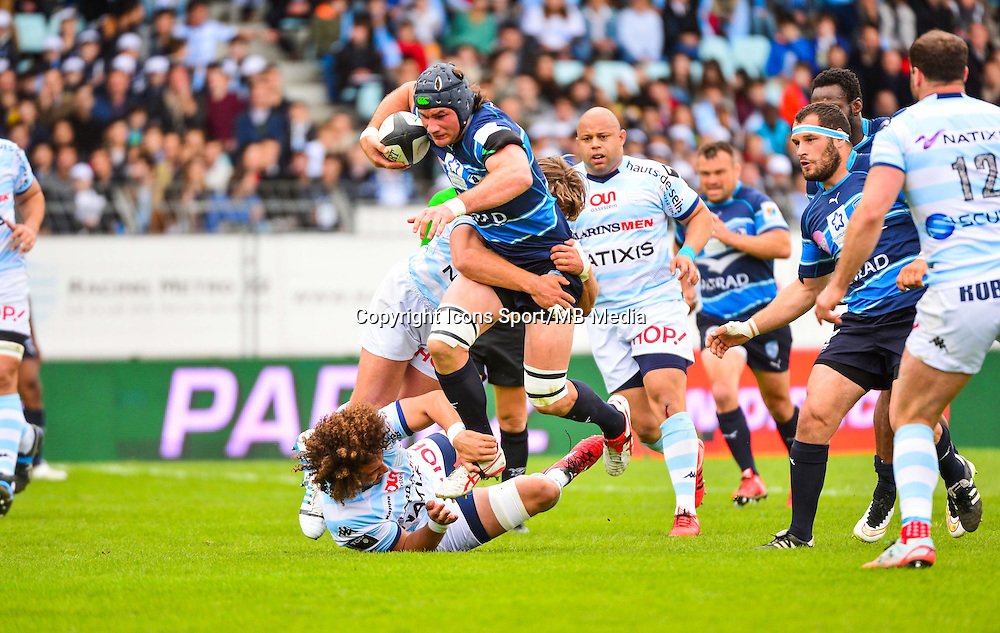 Ben MOWEN / Camille GERONDEAU / Dimitri SZARZEWSKI  - 11.04.2015 - Racing Metro / Montpellier  - 22eme journee de Top 14 <br />