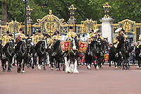 LONDON - JUNE 16: The Household Cavalry Mounted Regiment Band attends Trooping The Colour, Buckingham Palace, London, UK. June 16, 2012. (photo by piQtured)