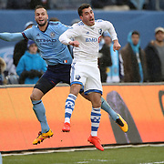 NEW YORK, NEW YORK - March 18:  Daniel Lovitz #3 of Montreal Impact is challenged by Maxime Chanot #4 of New York City FC  during the New York City FC Vs Montreal Impact regular season MLS game at Yankee Stadium on March 18, 2017 in New York City. (Photo by Tim Clayton/Corbis via Getty Images)