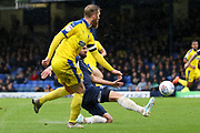 AFC Wimbledon midfielder Scott Wagstaff (7) crossing the ball during the EFL Sky Bet League 1 match between Southend United and AFC Wimbledon at Roots Hall, Southend, England on 12 October 2019.