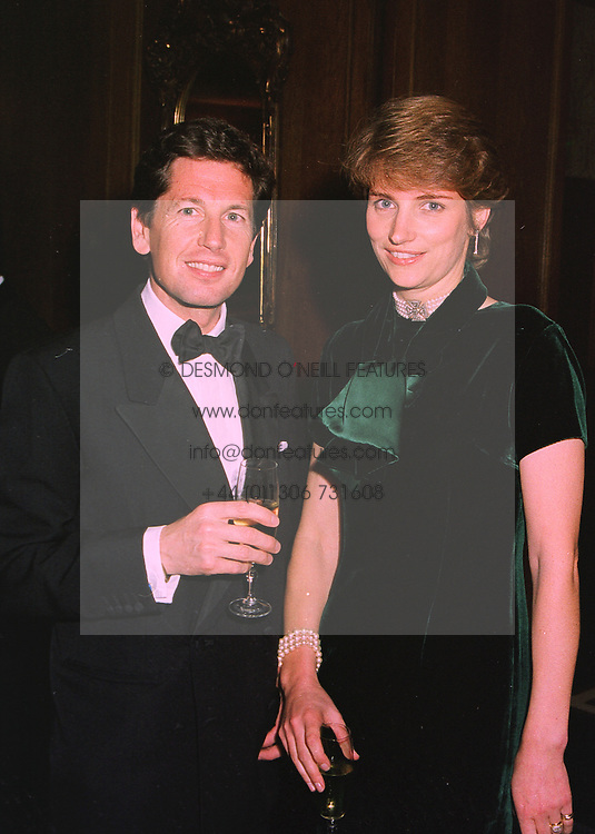 MR JOHN & LADY CAROLYN WARREN, she is the daughter of the Earl of Carnarvon, at a dinner in London on 19th November 1997.MDM 14
