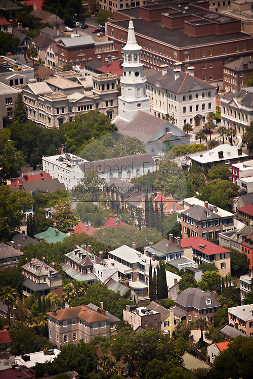 Aerial view of St. Michael's Church and the historic district of Charleston, SC