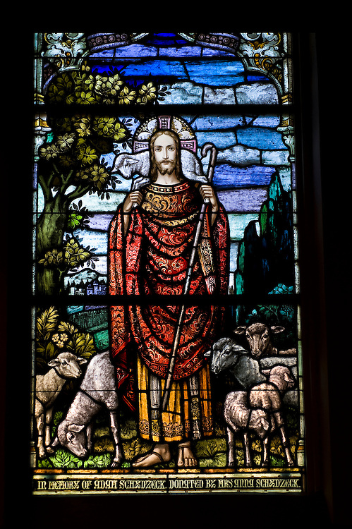 Stained glass image depicting Jesus as the Good Shepherd inside Sacred Heart Church, Sherwood, Wis. (Sam Lucero photo)