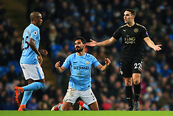 Matthew James of Leicester City and Ilkay Gundogan of Manchester City react - Mandatory by-line: Matt McNulty/JMP - 10/02/2018 - FOOTBALL - Etihad Stadium - Manchester, England - Manchester City v Leicester City - Premier League