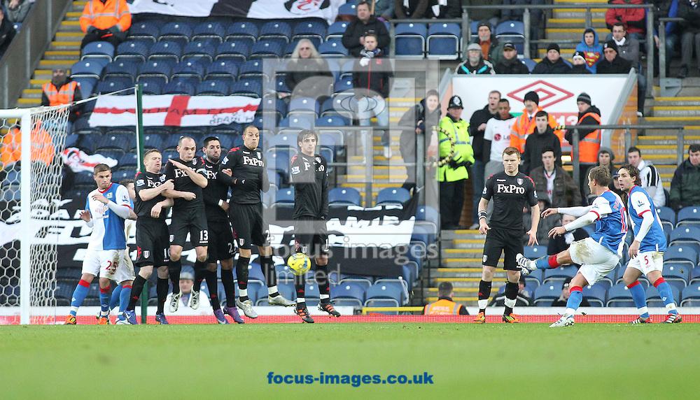 Picture by MIchael Sedgwick/Focus Images Ltd. 07900 363072.14/01/12.Morten Gamst Pedersen of Blackburn scores the first goal against Fulham during the Barclays Premier League match at the Ewood Park stadium, Blackburn, Lancashire.