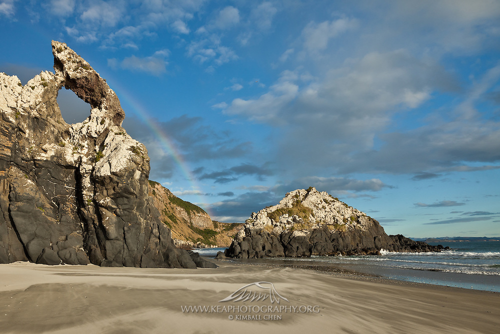 Rainbow at Keyhole Rock, Aramoana, New Zealand