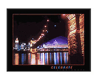 Signed 24x30 poster featuring the Roebling Suspension Bridge lit at night, and Riverfront Stadium