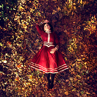 Girl in red Victorian style dress, lying on her back on colurful Autumn leaves, looking straight up day dreaming with sunlight on leaves. Shot at Bird's eye view.