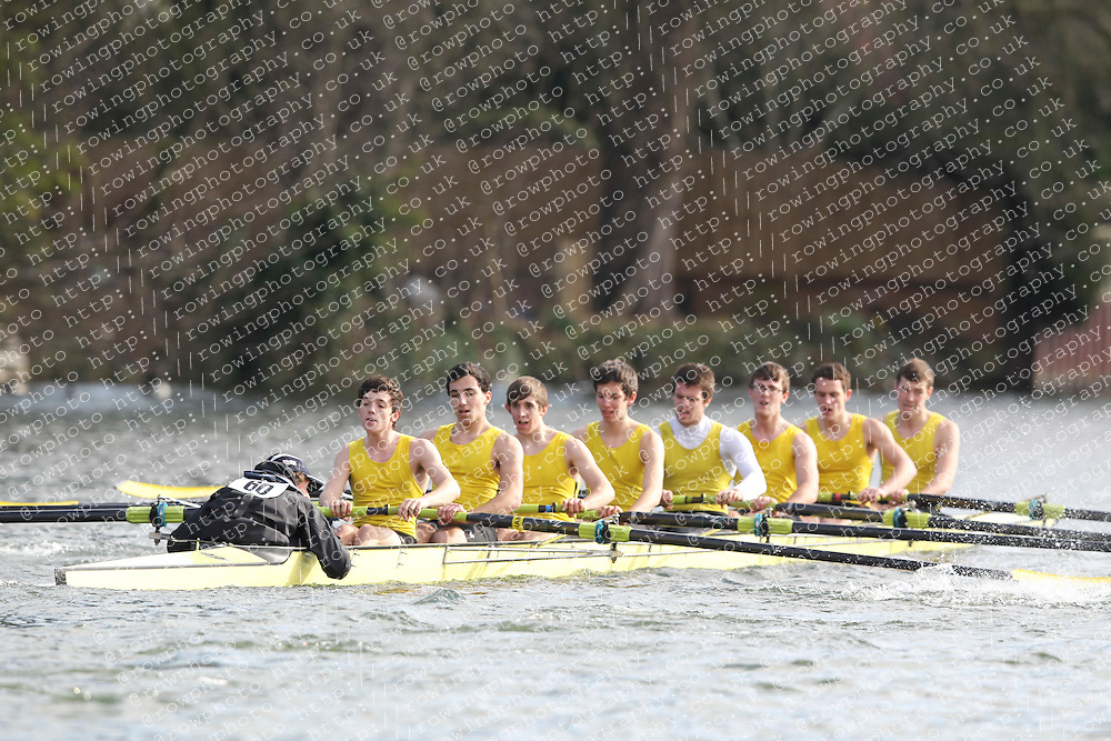2012.02.25 Reading University Head 2012. The River Thames. Division 1. Hampton School Boat Club A J18A 8+