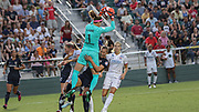 North Carolina Courage goalkeeper Stephanie Labbe (1) makes a save in the final game against Olympique Lyonnais during an International Champions Cup women's soccer game, Sunday, Aug. 18, 2019, in Cary, Olympique Lyonnais bested the North Carolina Courage 1-0 in the finals.  (Brian Villanueva/Image of Sport)