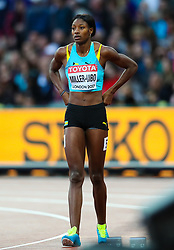 London, August 08 2017 . Shaunae Miller-Uibo, Bahamas, in the women's 200m heats on day five of the IAAF London 2017 world Championships at the London Stadium. © Paul Davey.