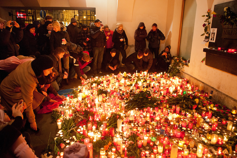 "Havel was a Czech playwright, essayist, poet, dissident and politician. After the announcement of his death spontaneously thousands of people People are meeting on ""Narodni"" street at the ""Velvet Revolution Memorial"" and other places in Prague to commemorate the death of former Czech President Vaclav Havel with flowers and candles."