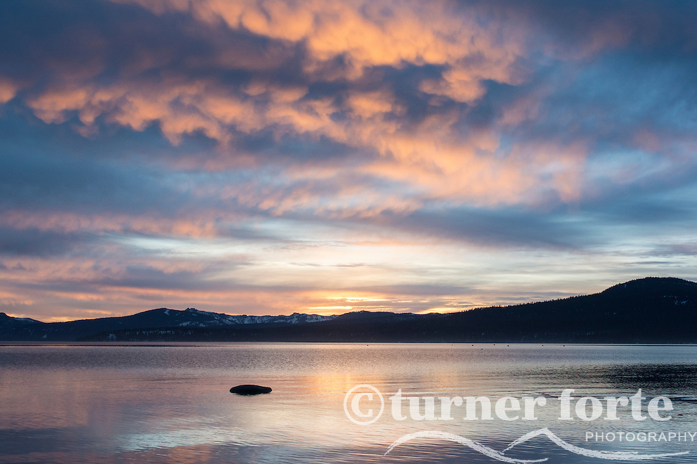 Sunset over Lake Tahoe as seen from Kings Beach, California.