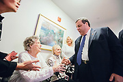 101 year old Dora Bresaw meets Chris Christie. The Republican Presidential candidate Chris Christie (NJ) holds a town hall meeting at the White Rock Senior Living Community in Bow, NH. ahead of the primary election.