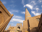 Uzbekistan, Khiva, Ichon-Qala.<br /> Juma Mosque and Minaret.