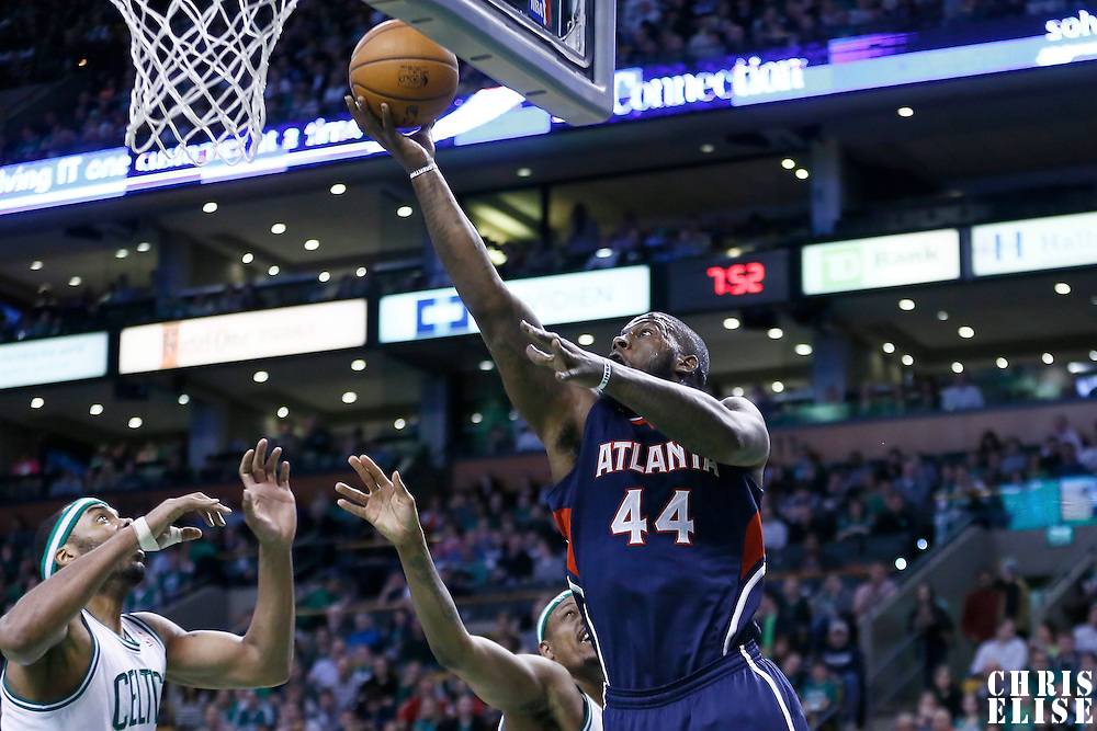 29 March 2013: Atlanta Hawks power forward Ivan Johnson (44) goes for the layup during the Boston Celtics 118-107 victory over the Atlanta Hawks at the TD Garden, Boston, Massachusetts, USA.