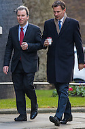 Chancellor of the Duchy of Lancaster and Policy Advisor Oliver Letwin, left, and Health Secretary Jeremy Hunt arrive for Cabinet at Downing Street, London<br /> Picture by Paul Davey/Focus Images Ltd +447966 016296<br /> 16/03/2016
