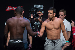 October 27, 2017 - Sao Paulo, Sao Paulo, Brazil - Opponents DEREK BRUNSON of the United States and LYOTO MACHIDA of Brazil face off during the UFC weigh-in event inside the Ibirapuera Gymnasium in Sao Paulo, Brazil. (Credit Image: © Paulo Lopes via ZUMA Wire)