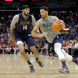 Oct 5, 2019; New Orleans, LA, USA; New Orleans Pelicans guard Josh Hart drives past forward Brandon Ingram (14) during a open practice at the Smoothie King Center. Mandatory Credit: Derick E. Hingle-USA TODAY Sports