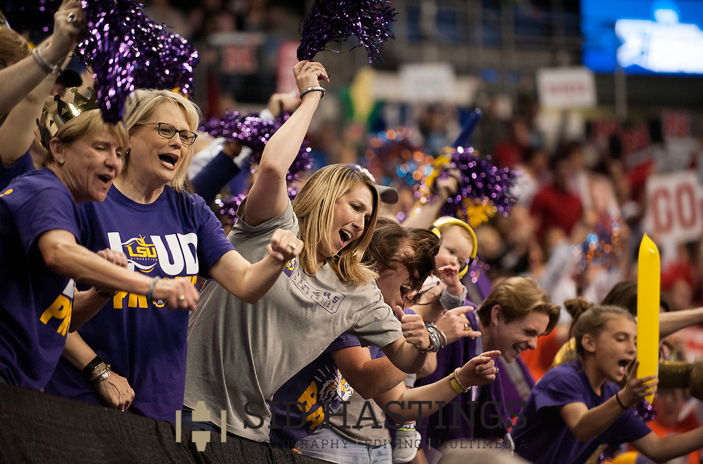 21 APRIL 2018 -- ST. LOUIS -- Fans cheer for the LSU gymnastics team during the opening of the 2018 NCAA Women's Gymnastics Championship Super Six at Chaifetz Arena in St. Louis Saturday, April 21, 2018.<br /> Photo &copy; copyright 2018 Sid Hastings.