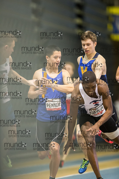 Windsor, Ontario ---2015-03-14--- Isaac Penner of University of Victoria  competes in the 4x400m relay at the 2015 CIS Track and Field Championships in Windsor, Ontario, March 14, 2015.<br /> GEOFF ROBINS/ Mundo Sport Images