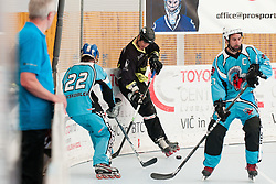 Ziga Pavlin of DPH Itaksport.com Kranj vs Miha Dakskobler of Mufloni Tolmin at quarter final match of IZS Masters 2011 inline hockey between DPH Itaksport.com Kranj and Mufloni Tolmin, on June 4, 2011 in Sportni park, Horjul, Slovenia. (Photo by Matic Klansek Velej / Sportida)