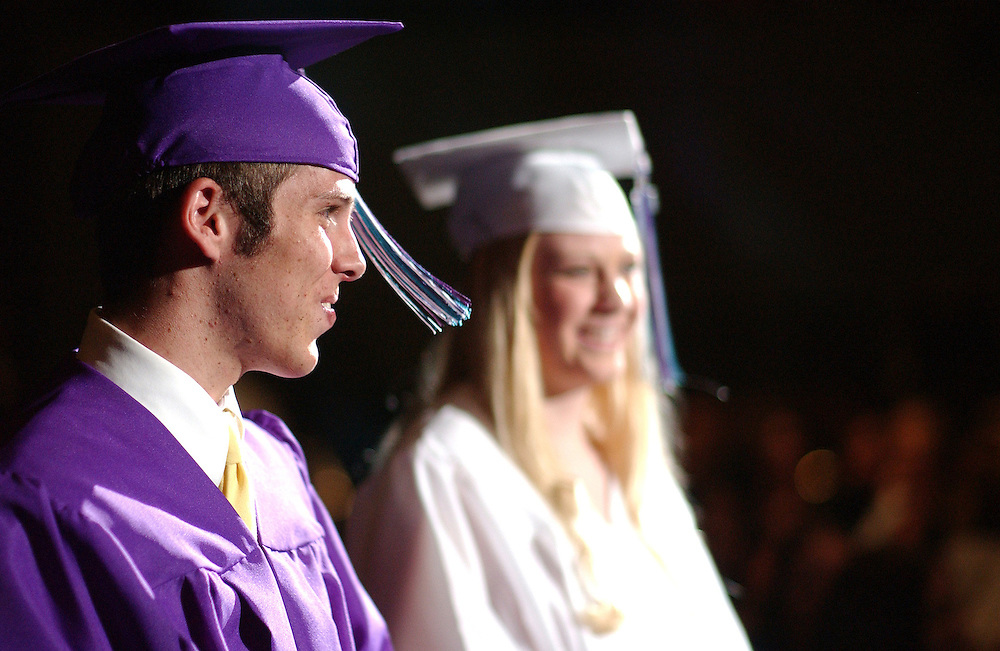 Spanish Springs High School graduates Robert Harding and Chelsea Willers after singing a duet during the 2005 Spanish Springs High School commencement ceremony at Lawor Events Center Friday, June 10, 2005. <br />