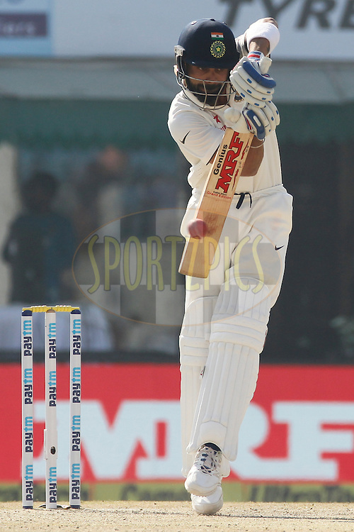 Virat Kohli Captain of India bats during day 2 of the third test match between India and England held at the Punjab Cricket Association IS Bindra Stadium, Mohali on the 27th November 2016.<br /> <br /> Photo by: Deepak Malik/ BCCI/ SPORTZPICS
