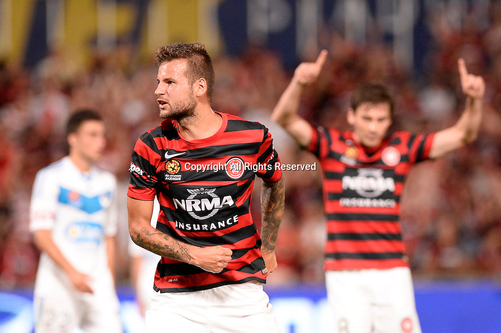 06.01.2015. Sydney, Australia. Hyundai A-League Round 14. Western Sydney Wanderers FC v Melbourne Victory FC. Wanderers midfielder Nick Kalmar celebrates his goal.Victory won the game 2-1.