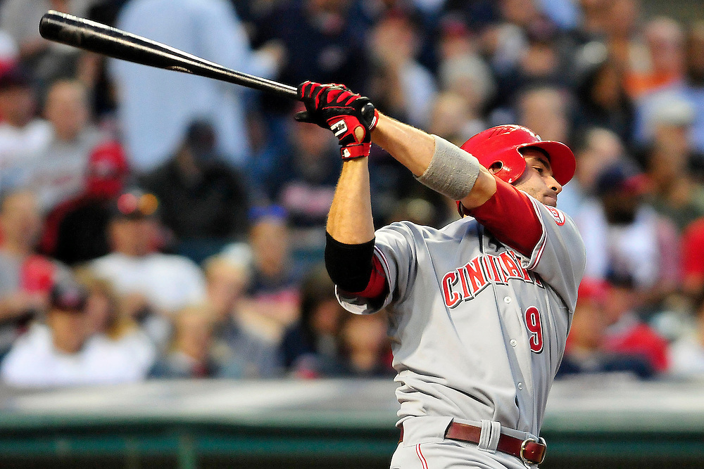 May 20, 2011; Cleveland, OH, USA; Cincinnati Reds first baseman Joey Votto (19) bats during the fifth inning against the Cleveland Indians at Progressive Field. Mandatory Credit: Jason Miller-US PRESSWIRE