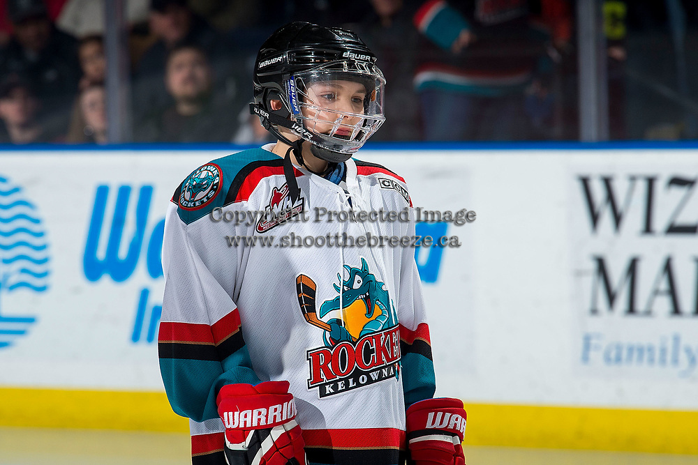 KELOWNA, CANADA - MARCH 9: Domenic Ashbee stands on the ice as the Pepsi Player of the game at the Kelowna Rockets against the Kamloops Blazers  on March 9, 2019 at Prospera Place in Kelowna, British Columbia, Canada.  (Photo by Marissa Baecker/Shoot the Breeze)