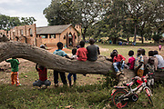 Sunday church service is held on November 11, 2016 at a church in Nagero, home to Garamba National Park Headquarters.