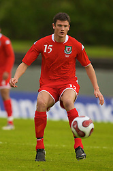 REYKJAVIK, ICELAND - Wednesday, May 28, 2008: Wales'  Owain Tudur Jones in action against Iceland during the international friendly match at the Laugardalsvollur Stadium. (Photo by David Rawcliffe/Propaganda)