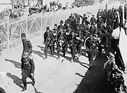 Turkish military band marching to the German camp during state visit of  Wilhelm II Emperor of Germany to Jerusalem, 1898. At this date Jerusalem was still part of the declining Ottoman Empire. Music Military Instrument Brass