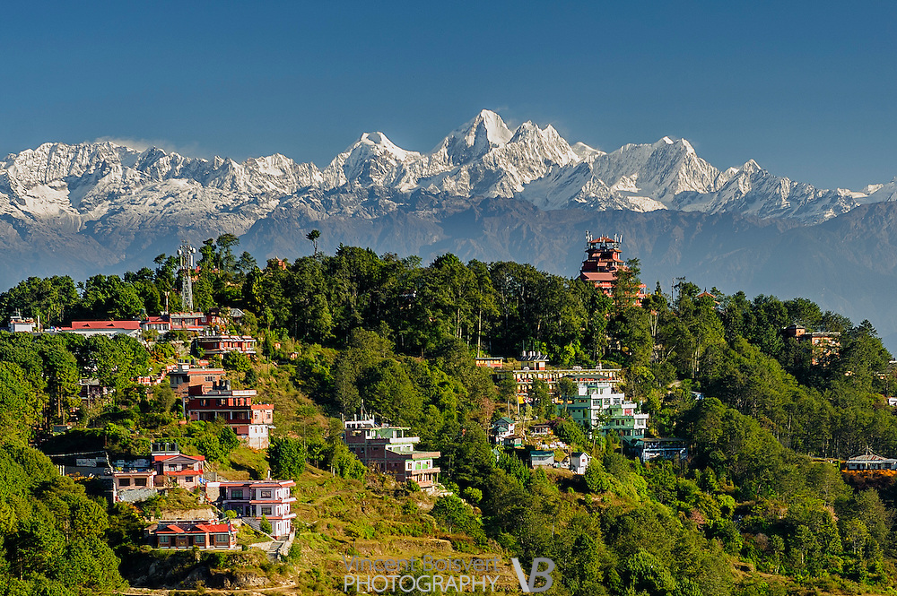 a morning view of the Himalaya, seen from the top of the Club Himalaya Resort, Nagarkot, nepal