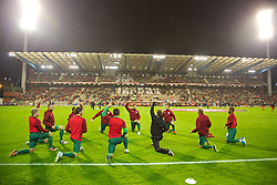 BRUSSELS, BELGIUM - Tuesday, October 15, 2013: Wales substitutes warm-up before the 2014 FIFA World Cup Brazil Qualifying Group A match against Belgium at the Koning Boudewijnstadion. (Pic by David Rawcliffe/Propaganda)