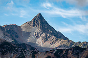 Mount Yari (Yarigatake, 3180m or 10,433 ft, fifth highest in Japan) is in the Hida Mountains (Northern Japan Alps), in Chubu-Sangaku National Park, on the border of Omachi and Matsumoto in Nagano Prefecture and Takayama in Gifu Prefecture. Its shape resembles a spear (yari) thrust into the sky, and it is known as the Matterhorn of Japan.