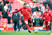Liverpool midfielder Jordan Henderson (14) warming up during the Premier League match between Liverpool and Watford at Anfield, Liverpool, England on 14 December 2019.