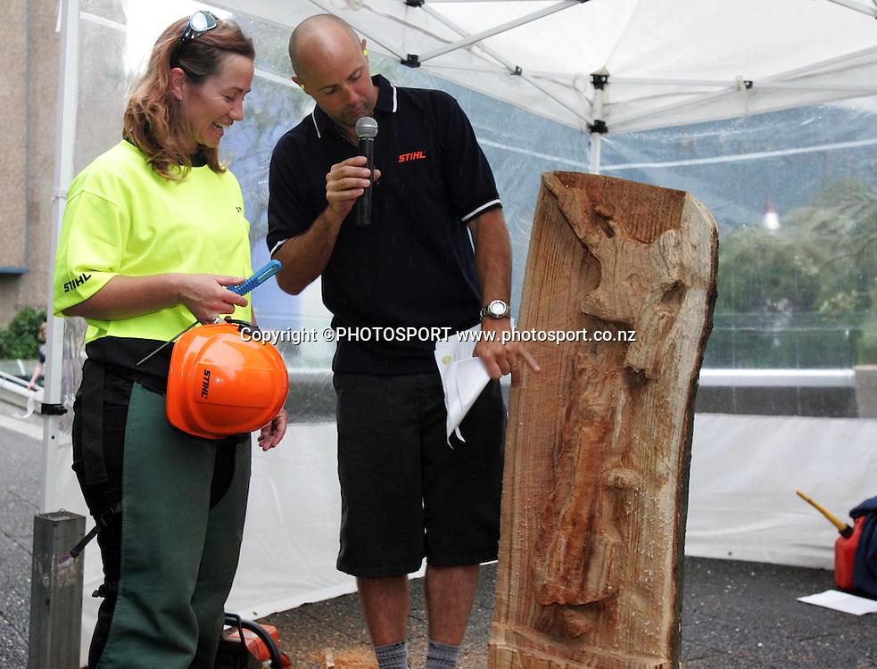Stihl Chainsaw Awareness Week, Aotea Square, Auckland, Monday 14 April 2008. Photo: Renee McKay/PHOTOSPORT