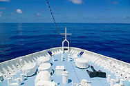 The bow of a cruise ship as seen from the bridge in the Atlantic ocean near Venezuela.