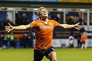 Cameron McGeehan of Luton Town celebrates scoring his team's second goal against Barnet to make it 2-0 during the Sky Bet League 2 match at Kenilworth Road, Luton<br /> Picture by David Horn/Focus Images Ltd +44 7545 970036<br /> 14/11/2015