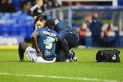 Birmingham City striker Clayton Donaldson gets treatment for an injury during the Sky Bet Championship match between Birmingham City and Brentford at St Andrews, Birmingham, England on 2 January 2016. Photo by Alan Franklin.