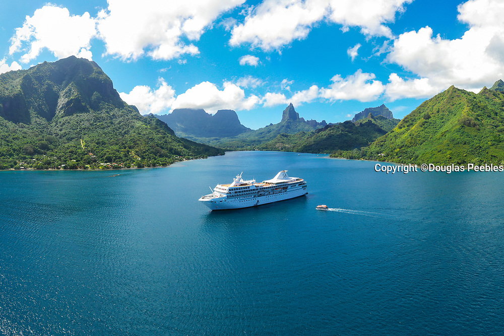 Paul Gauguin Cruise Ship, Opunohu Bay, Moorea, Society Islands, French Polynesia; South Pacific